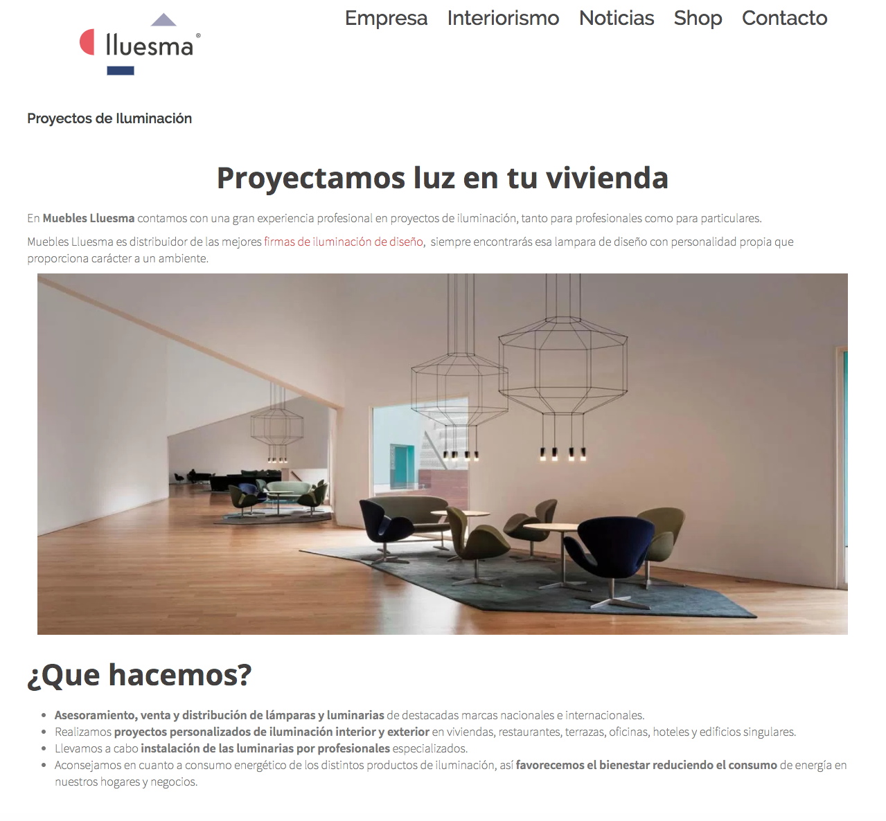 Creaci n de pagina web para el estudio de interiorismo for Paginas muebles